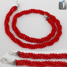 149.75cts CLASSIC RED CORAL SILVER NECKLACE TWISTED BEADS JEWELRY D14481 #jewelexi #BEADS