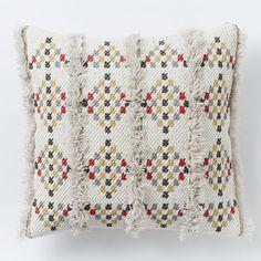 "Diamond Shag Pillow Cover, 18""x18"", Muslin"