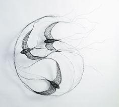 @Celia Smith: I use wire to create sculptures. Each sculpture that I make is a three-dimensional drawing with the wires representing a quality of line. Birds are my main inspiration; capturing their movement and character is my primary concern. I find that wire has a spontaneity that can give my sculptures a feeling of life and energy.