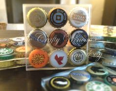 Set of TWO - One of a Kind Beer Bottle Cap Resin Coasters - The perfect gift for guys! - pinned by pin4etsy.com