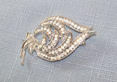 Vintage Brooch Coro Clear Rhinestones Sterling Silver Wedding Bridal Sash Special Occasion Gift Idea Birthday Anniversary Christmas