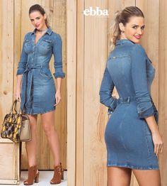 Denim Fashion, Look Fashion, Womens Fashion, Sexy Dresses, Fashion Dresses, Denim Shirt Dress, T Shirt, English Dress, Jamel