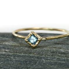Scarlett Jewelry - Handmade Designer Jewels: Square Aquamarine Stacking Ring, Rings