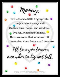 Free Mother\'s Day Fingerprint Poem Printable - Crafty Morning