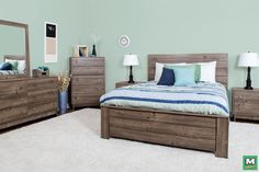 Makeover your master bedroom with a Dakota™ Harper Queen Bedroom Set. In a Cottage Finish, this beautiful bedroom set has everything you need! From bed rails to a 6-drawer dresser, this bedroom set will heighten your home  with its incredible storage option and old-world design.