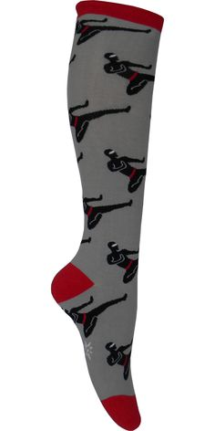 Product Details Hi Ya! These awesome gray knee high socks have a red heel, toe and cuff and have ninja doing a flying kick to your shins! Sizing Information: Shoe Size: Women's 5-10 Style: Knee High P