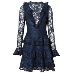 Alexis Tracie Dress Lace ($680) ❤ liked on Polyvore featuring dresses, long blue dress, flutter sleeve dress, ruffle sleeve dress, long lace dress and long cocktail dresses