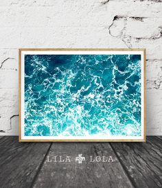 Ocean Art Print, Waves, Water, Coastal Wall Decor, Beach Art, Large Printable Poster, Digital Download, Modern Minimalist, Turquoise Blue