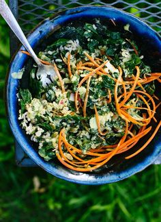 Super versatile kale salad recipe with an amazing green tahini salad dressing - http://cookieandkate.com