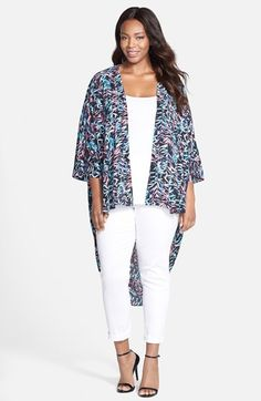 Sejour Crepe High/Low Kimono (Plus Size) available at #Nordstrom