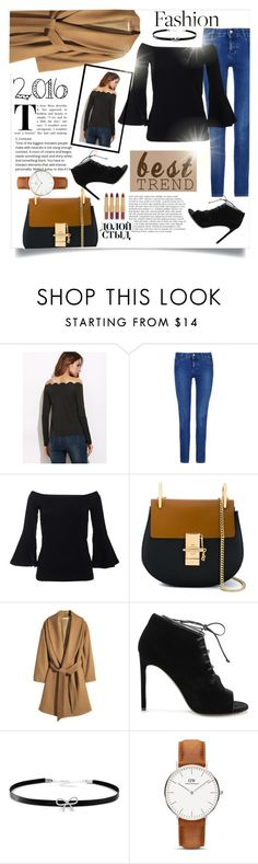 """""""2016 Best Trend - Off-the-Shoulder"""" by sonyastyle ❤ liked on Polyvore featuring STELLA McCARTNEY, Chloé, H&M, Yves Saint Laurent, Giani Bernini, Daniel Wellington, tarte, booties, danielwellington and camelcoat"""