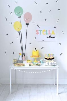 Amazing dessert table at a balloon birthday party! See more party ideas at CatchMyParty.com!