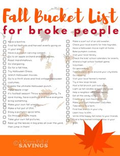 Create the ULTIMATE Fall Bucket List with these ideas. Plus, this is a great bucket list for frugal people, who are looking for free or frugal activities to do this fall. Get our free fall