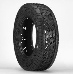 HAND-CARVED TIRES by Wim Delvoye - A Collection of Intricate Pattern work with Various Motifs, like Floral and Art Deco