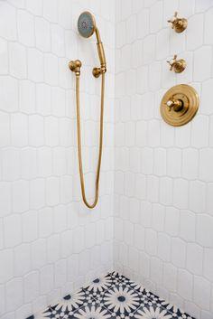 moroccan tile Bathroom Beach with gold fixtures brass fixtures Diy Bathroom, Bathroom Styling, Bathroom Interior, Bathroom Ideas, Bathroom Beach, Beige Bathroom, Bathroom Stuff, Glass Bathroom, Modern Boho Bathroom