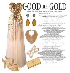 """""""Good As Gold"""" by jasmineroselily123 ❤ liked on Polyvore featuring Sergio Rossi, Nina Ricci, Cartier, Yves Saint Laurent, gold, goldsandals and microtrend"""