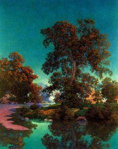 """Maxfield Parrish (American, 1870-1966). """"Ottaqueeche River"""" 1947"""