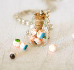 Eyeball creepy necklace jar polymer clay miniature by Zoozim, $18.00