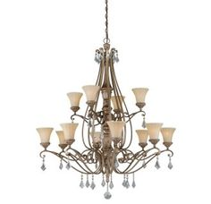 View the Vaxcel Lighting H0138 Avenant 12 Light Two Tier Chandelier with Glass Shades - 45.5 Inches Wide at Build.com.