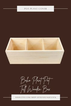 A pine tree box! This box is untreated wood organizer ! Ready to use as it is or can be transform into your own creation! It is separated into 3 compartments and it is big enough to store plants inside. #decoupagewoodbox, #naturalwoodbox, #concrete,#largeplanterpot, #tallwoodenbox, #mediumplantpot, #bohoplantpot, #potplantcover, #indoorherbplanter, #cactiplanter, #herbplanterindoor, #herbgardenplanter, #woodenboxplanter Herb Garden Planter, Herb Planters, Wooden Planters, Concrete Planters, Planter Pots, Wooden Jewelry Boxes, Wooden Boxes, Large Ottoman Tray, Unfinished Wood Boxes