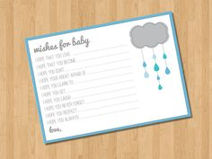 INSTANT DOWNLOAD - Wishes for Baby - Printable Baby Shower Game