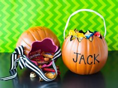 Use faux pumpkins to make custom trick-or-treat bags. >> http://www.diynetwork.com/how-to/make-and-decorate/decorating/2015-pictures/unique-pumpkin-decorating-ideas-for-2015-