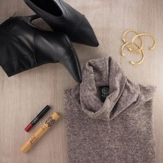 #FridayFavorites: Leather Booties, Cashmere Sweater Dress, Red Lip + Luxe Lashes and Gold Gemstones #Bangles.