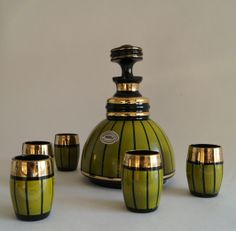 Sold *België* Liqueur set of Booms glass 1950.