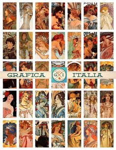 Mucha Art Nouveau 1x2 inch Collage Sheet Digital - Vintage Clipart Instant Digital Download DIY Domono, Scrapbooking, Craft Supplies by graficaitalia