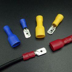 200PCS 6.3mm Female Male Spade Insulated Electrical Crimp Terminal Connectors H1E1 Cable Terminals