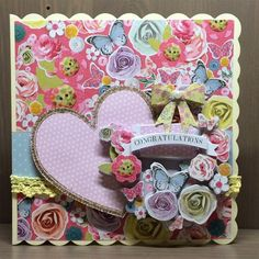 Handmade congratulations card featuring butterflies and flowers. Made using the Papermania Bellissima collection.