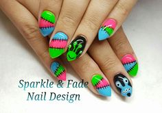 Cute handpainted monster nails - Done by Christine Ingalls of Sparkle and Fade Nail Design  https://www.facebook.com/SparkleAndFadeNailDesign