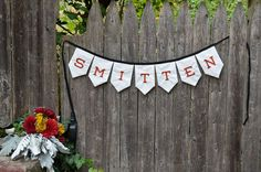 Smitten Embroidered Wedding Banner by MaryElise on Etsy