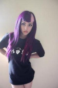 Color block bangs. White and purple violet alternative hair.