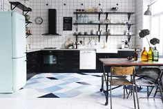 kitchen tile. and the fridge. blues, teal, white, and scandinavian