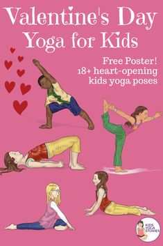 Valentine's Day Yoga for Kids! 18 heart-opening yoga poses for kids plus other Valentine's Day fun ideas. Kids Yoga Poses, Easy Yoga Poses, Yoga Poses For Beginners, Yoga For Kids, Yoga Nature, Childrens Yoga, Different Types Of Yoga, Yoga Lessons, Preschool Age