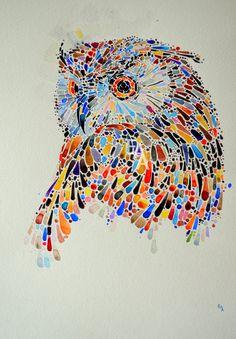 Owl. Watercolor painting. Original.