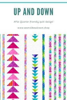 Up and Down- a Fat Quarter friendly Quilt pattern - Trend Award Design 2019 Longarm Quilting, Machine Quilting, Down Quilt, Fat Quarter Quilt, Flying Geese, Scrappy Quilts, Fat Quarters, Quilting Designs, Quilt Patterns