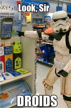 I started to wonder why the stormtrooper was muddy, but then I realized he probably had to travel from a long-ago, far-away galaxy to reach Walmart.