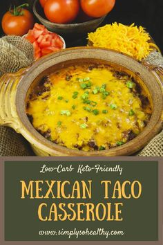 Low-Carb Mexican Taco Casserole Our recipe for Low-Carb puts spicy, cheesy goodness on your table–without the carbs. This family-friendly dish can be part of a or diet. Our taco casserole makes a taco lover's low-carb dream come true! Low Carb Keto, Low Carb Recipes, Diet Recipes, Vegan Recipes, Smoothie Recipes, Sauce Recipes, Delicious Recipes, Crockpot Recipes, Taco Casserole