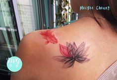 Watercolour goldfish with X-ray lotus tattoo