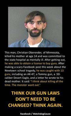 This is why we need background checks! Vote the gun nuts out of office, Nov 4th 2014. After a ghastly run of mass shootings from Tucson to Aurora to Newtown to Fort Hood (again), this particular issue no longer seems such a partisan one.