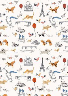 Wallcovering -- new patterns by little cube studio for children's design on Behance - Paris