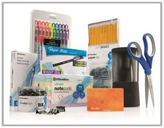 Back to School Giveaway with all supplies listed and a 50 dollar OfficeMax Gift Card.  Lots of featured discounts including major discounts for the print center!