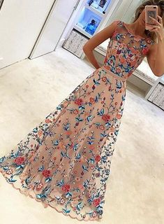 Lace Embroidery Prom Dresses, Colorful Prom Dresses, Gorgeous