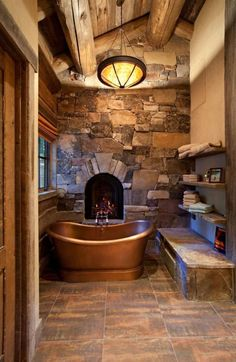 Luxury Fireplace Tile Ideas perfect for your home! Rustic Bathroom Designs, Rustic Bathrooms, Dream Bathrooms, Bathroom Interior Design, Bathroom Ideas, Bathroom Modern, Stone Bathroom, Bathroom Mirrors, Bathroom Faucets