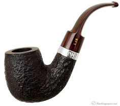 English Estate Ferndown Bark Bent Billiard with Silver (***) Pipes at Smoking Pipes .com