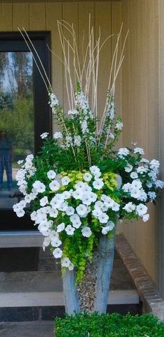 Container Gardening white container plantings- creeping jenny, white petunia, white angelonia dirt simple by deborah silver Outdoor Flowers, Container Garden Design, White Flowers, Plants, White Gardens, Petunias, Tall Planters, Container Gardening, Outdoor Planters
