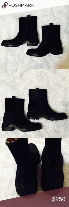 Alberto Fermani Black Suede Ankle Boots It will be your new favorite shoes for a night our or day work. Block heel, almond toe, a chunky suede, and a size zip.  Alberto Fermani ankle boots will take you from the office to girls night out. NWT Alberto Fermani Shoes Ankle Boots & Booties