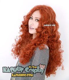 [Kasou Wig] Movie Brave princess Merida Auburn long curly cosplay wig